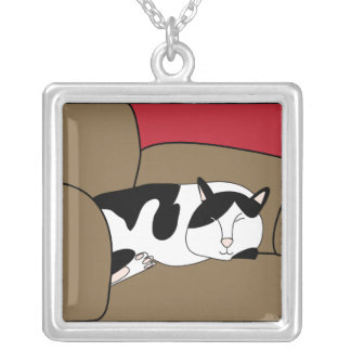Sleeping Black and White Cat Necklace