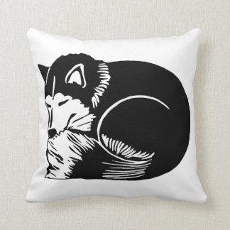 Sleeping Black and White Husky Dog Pillow