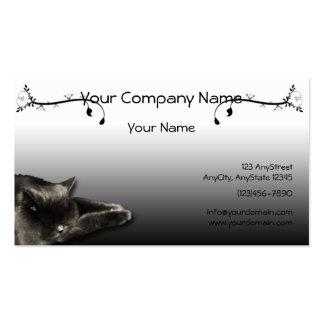 Sleeping Black Cat on Black Gradient Business Card