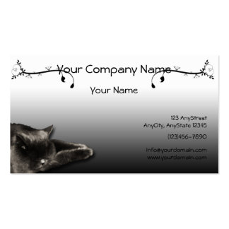 Sleeping Black Cat on Black Gradient Double-Sided Standard Business Cards (Pack Of 100)