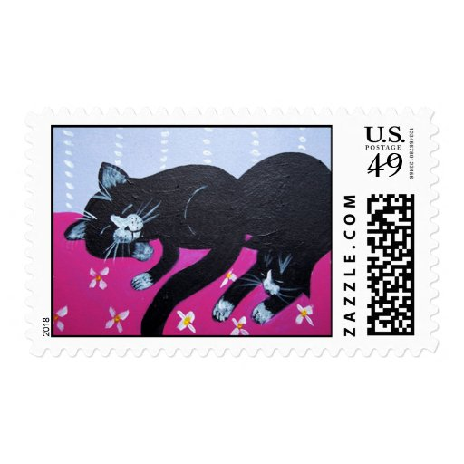 Sleeping Black Cats Postage Stamps