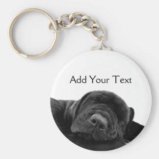 Sleeping Black Puppy Keychain