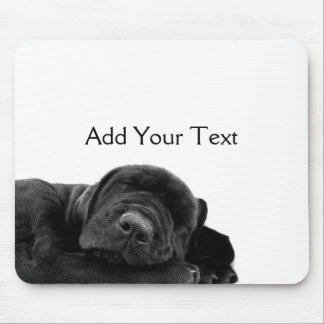 Sleeping Black Puppy Mouse Pad