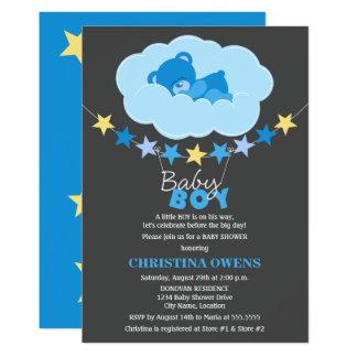 Sleeping Blue Boy Teddy Bear in Cloud Baby Shower Card