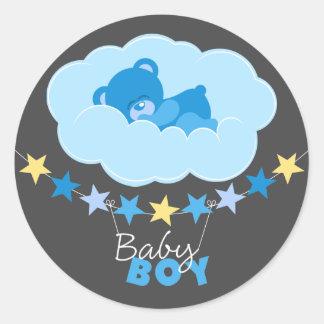 Sleeping Blue Boy Teddy Bear In Cloud Baby Shower Classic Round Sticker