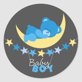 Sleeping Blue Boy Teddy Bear On Moon Baby Shower Classic Round Sticker