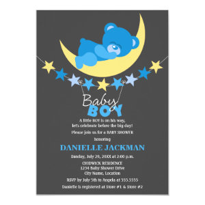 Teddy bear baby shower invitations cute baby shower invitations sleeping blue boy teddy bear on moon baby shower 5x7 paper invitation card filmwisefo Image collections