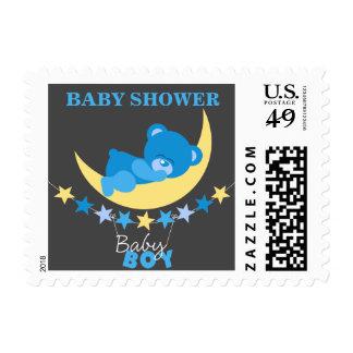 Sleeping Blue Boy Teddy Bear on Moon Baby Shower Stamp