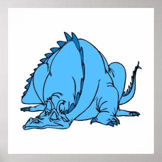 Sleeping Blue Dragon Poster