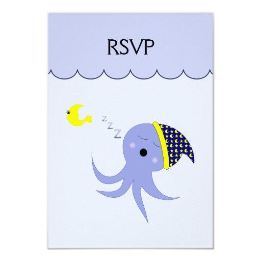 "Sleeping Blue Octopus 3.5"" X 5"" Invitation Card"