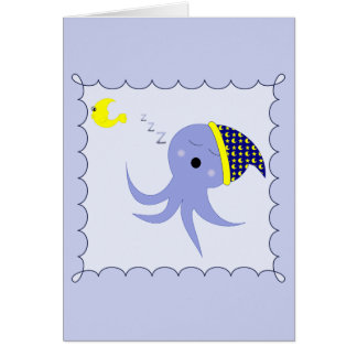 Sleeping Blue Octopus Stationery Note Card