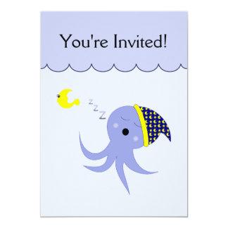 "Sleeping Blue Octopus 5"" X 7"" Invitation Card"