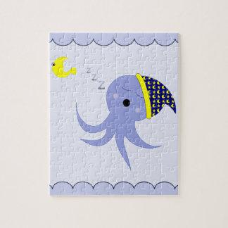 Sleeping Blue Octopus Jigsaw Puzzles
