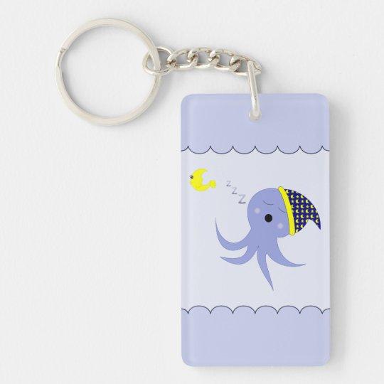 Sleeping Blue Octopus Keychain
