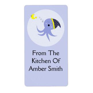 Sleeping Blue Octopus Labels