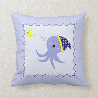 Sleeping Blue Octopus Pillow