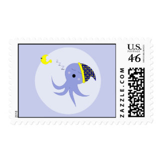 Sleeping Blue Octopus Postage Stamps