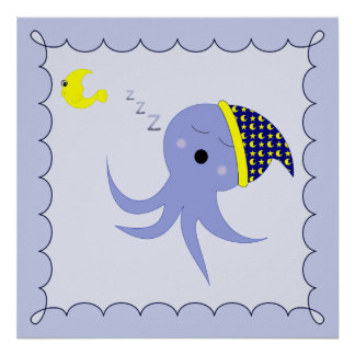 Sleeping Blue Octopus Print