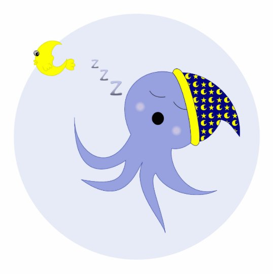 Sleeping Blue Octopus Statuette