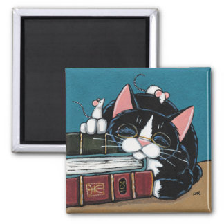 Sleeping Bookworm Tuxedo Cat and Mice Painting 2 Inch Square Magnet