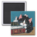 Sleeping Bookworm Tuxedo Cat and Mice Painting Magnet