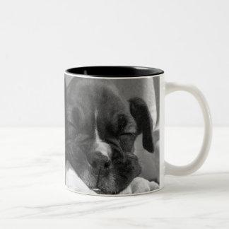 Sleeping Boxer puppies mug