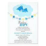 Sleeping Boy Teddy Bear in Cloud Baby Shower Card