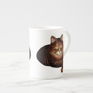 Sleeping Brown Tabby Cat Bone China Mug Tea Cup