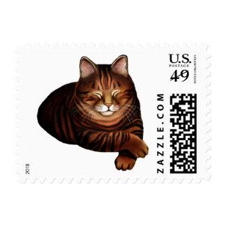 Sleeping Brown Tabby Cat Postage