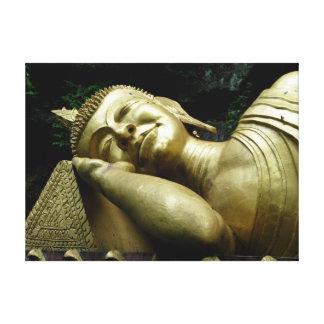 Sleeping Buddha Golden Statue Canvas Print