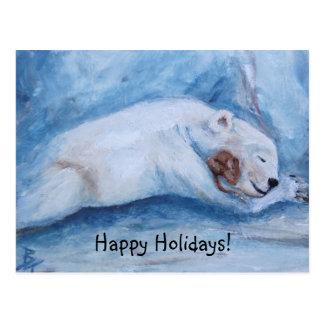 Sleeping Buddies Happy Holidays Postcard
