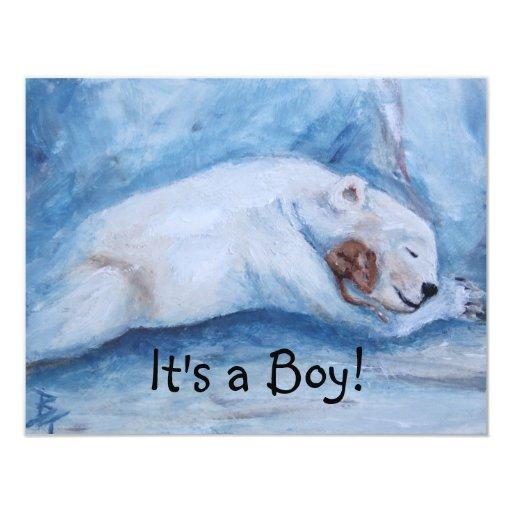 "Sleeping Buddies It's A Boy Birth Announcement 4.25"" X 5.5"" Invitation Card"