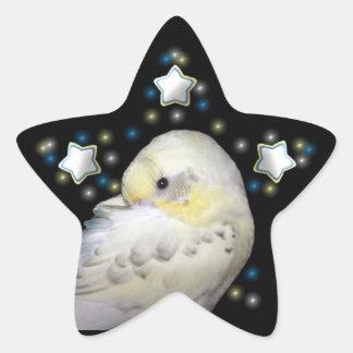 Sleeping budgie star sticker