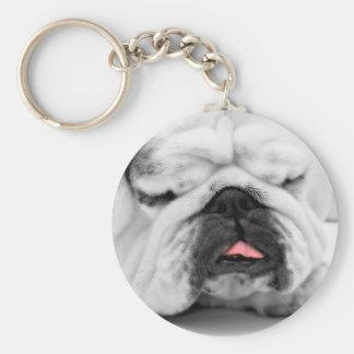 Sleeping Bulldog Puppy Dog Lovers Photo Design Keychain