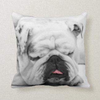 Sleeping Bulldog Throw Pillow