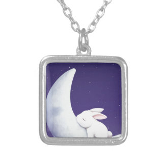 Sleeping Bunny Silver Plated Necklace