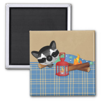 Sleeping by the Campfire 2 Inch Square Magnet