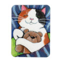 Sleeping Calico Cat and Teddy Bear Magnet