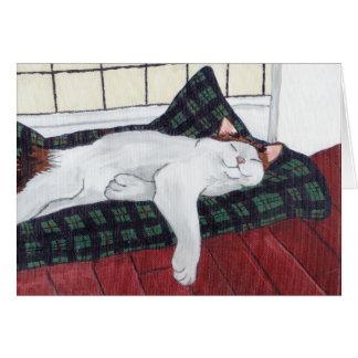 Sleeping Calico Cat Notecard
