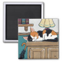 Sleeping Calico Cat on Cupboard Painting Magnet