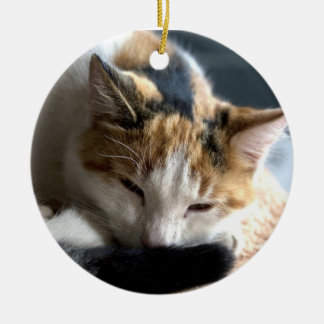 Sleeping Calico Double-Sided Ceramic Round Christmas Ornament