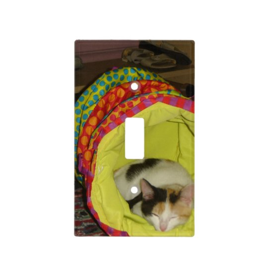 Sleeping Calico Light Switch Cover