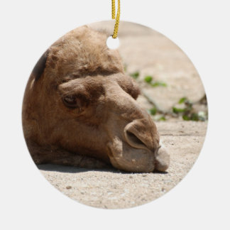 Sleeping Camel Double-Sided Ceramic Round Christmas Ornament