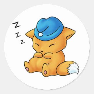 Sleeping Cap Fox Classic Round Sticker