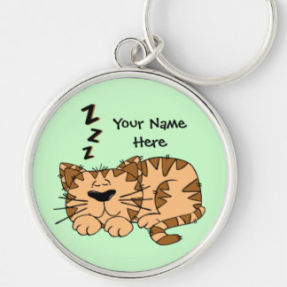 Sleeping Cartoon Cat Customizeable Premium Key Cha Key Chains