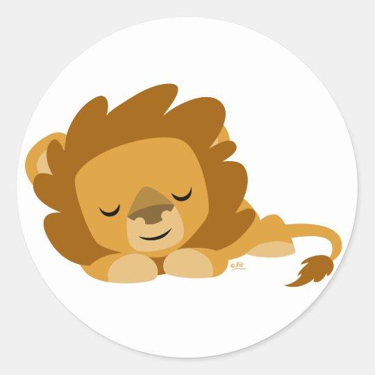 Sleeping Cartoon Lion round sticker