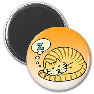Sleeping Cat 2 Inch Round Magnet