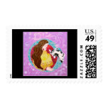 Sleeping Cat and Lady. On Black. Postage Stamps
