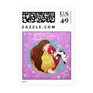 Sleeping Cat and Lady. Stamp