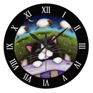 Sleeping Cat and Mice Dreaming of Sheep Wall Clock